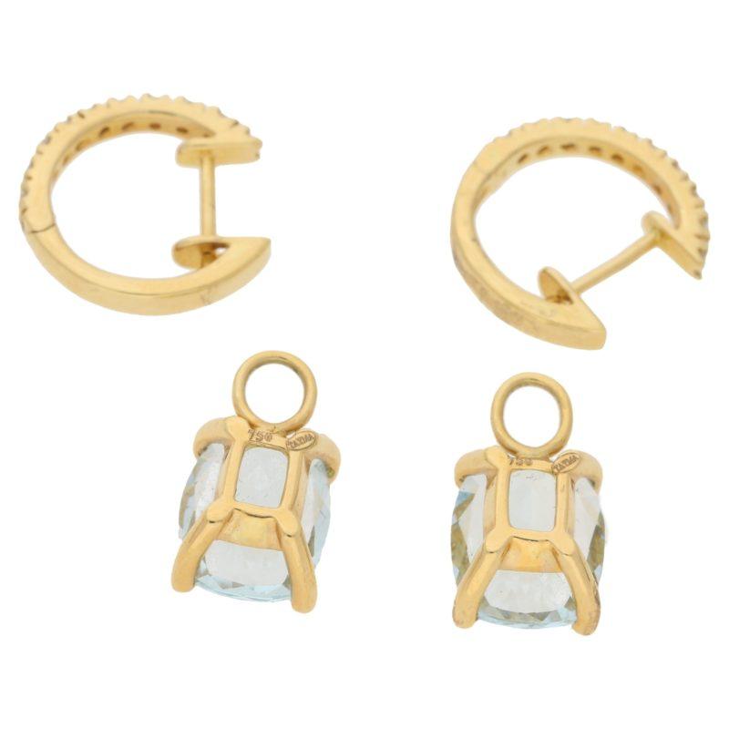 Aquamarine diamond hoop drop earrings