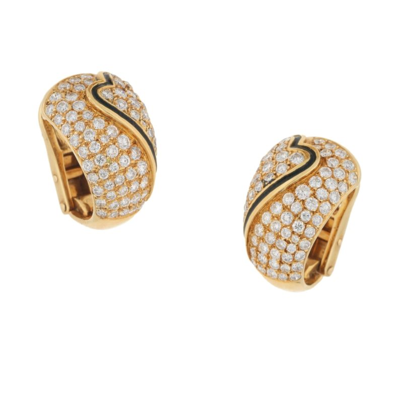 OJ Perrin 18ct gold diamond enamel earrings