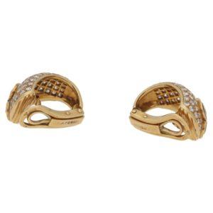 OJ Perrin 18ct gold diamond enamel earrings