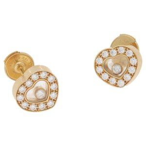 18k Gold Chopard Happy Diamond Earrings