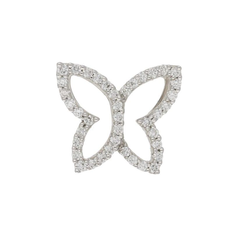 18ct white gold diamond butterfly pendant