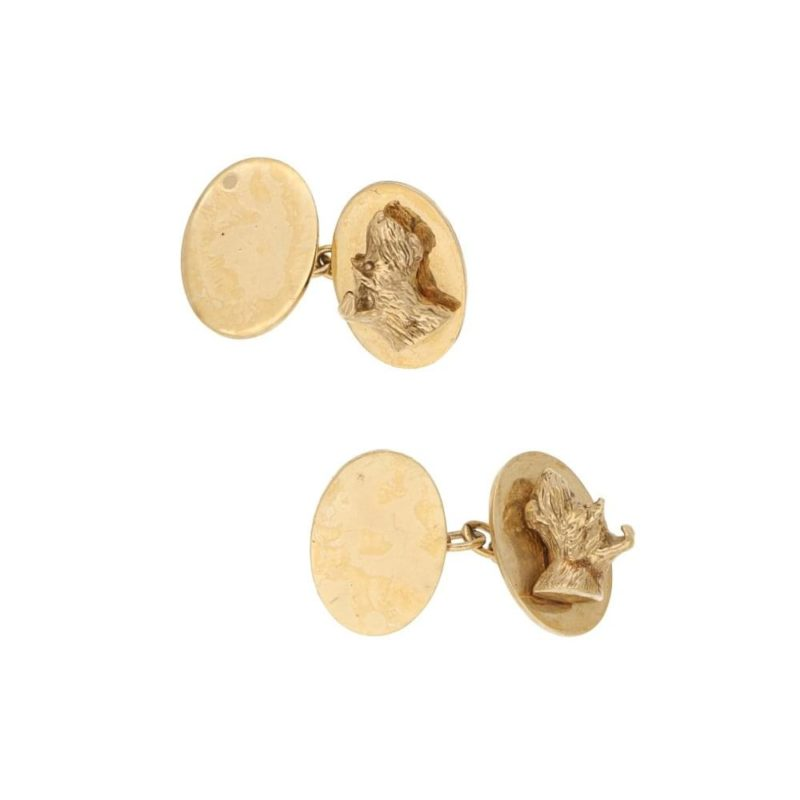 9ct yellow gold Fox Terrier cufflinks