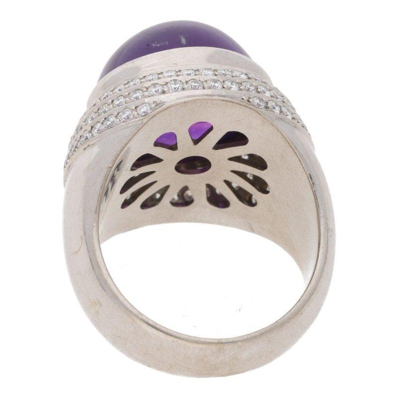 Amethyst cabochon bullet ring