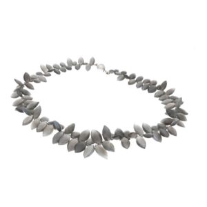 An opalescent briolette cut smoky quartz necklace