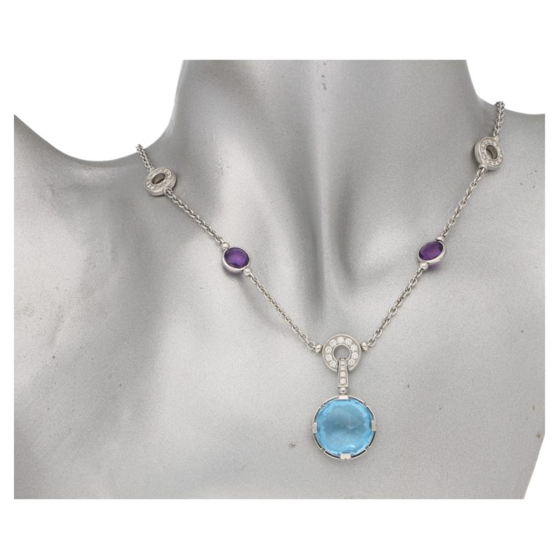 Bulgari topaz, amethyst and diamond cocktail necklace