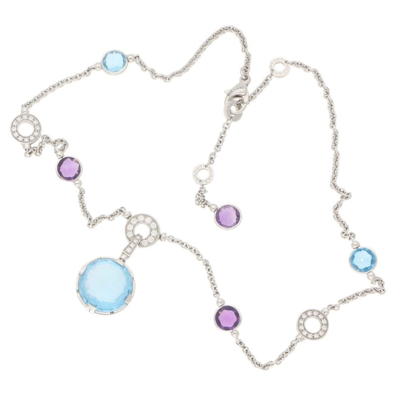 Bulgari topaz, amethyst and diamond cocktail necklace
