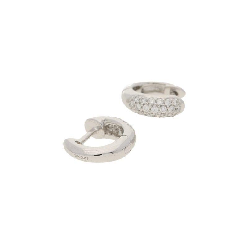 18 karat gold diamond hoop huggy earrings