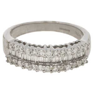Baguette and round brilliant cut diamond ring