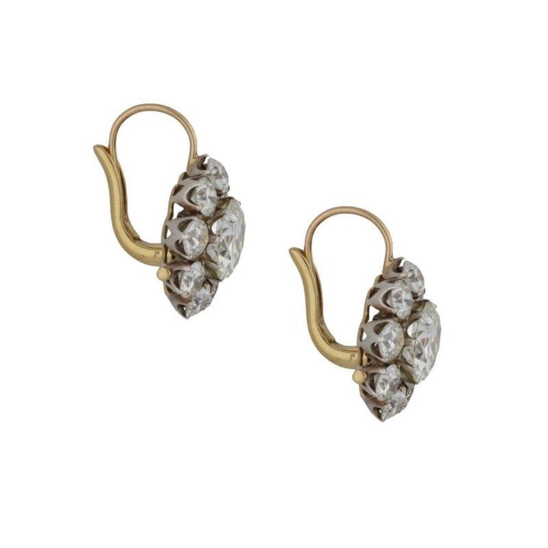 Old cut diamond cluster drop earrings