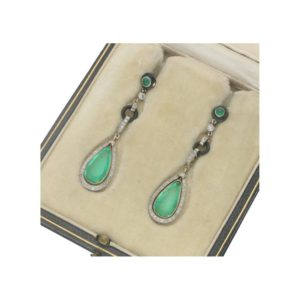 Art Deco Colombian Emerald, Diamond, and Enamel Drop Earrings