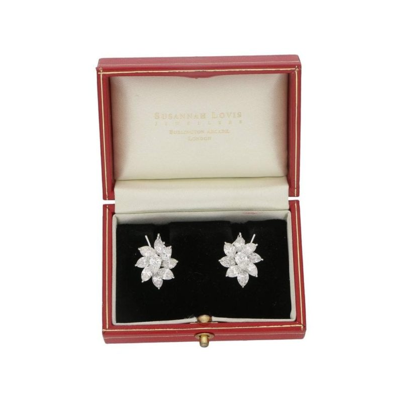 Floral marquise diamond large spray earrings