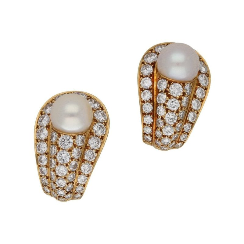 1970's pearl and diamond clip earrings