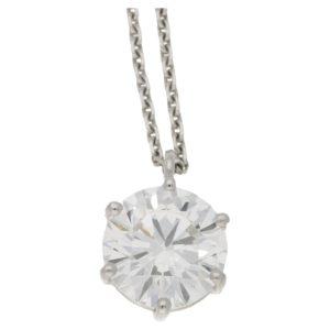GIA 2.4ct D VS2 Solitaire Diamond Pendant White Gold