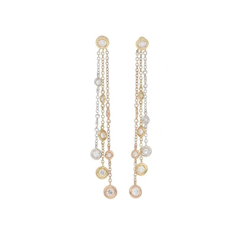 Diamond set drop earrings