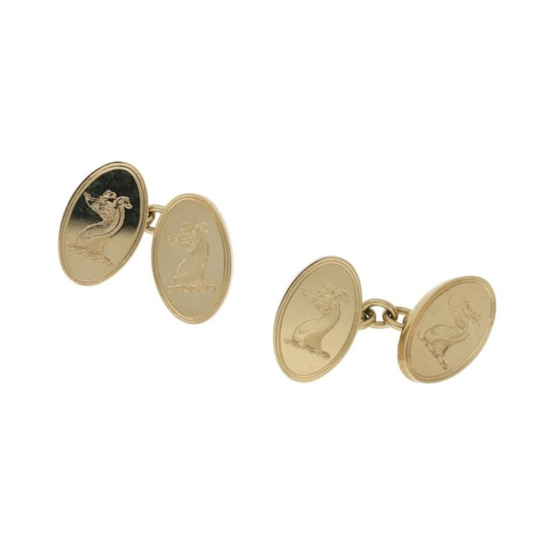 9k gold engraved chain link cufflinks