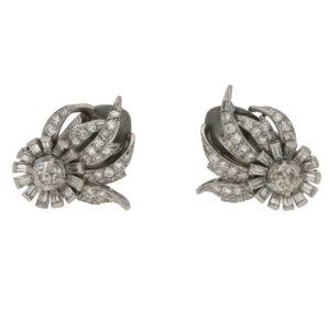 Platinum and diamond flame earrings