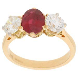 Ruby and diamond three-stone ring