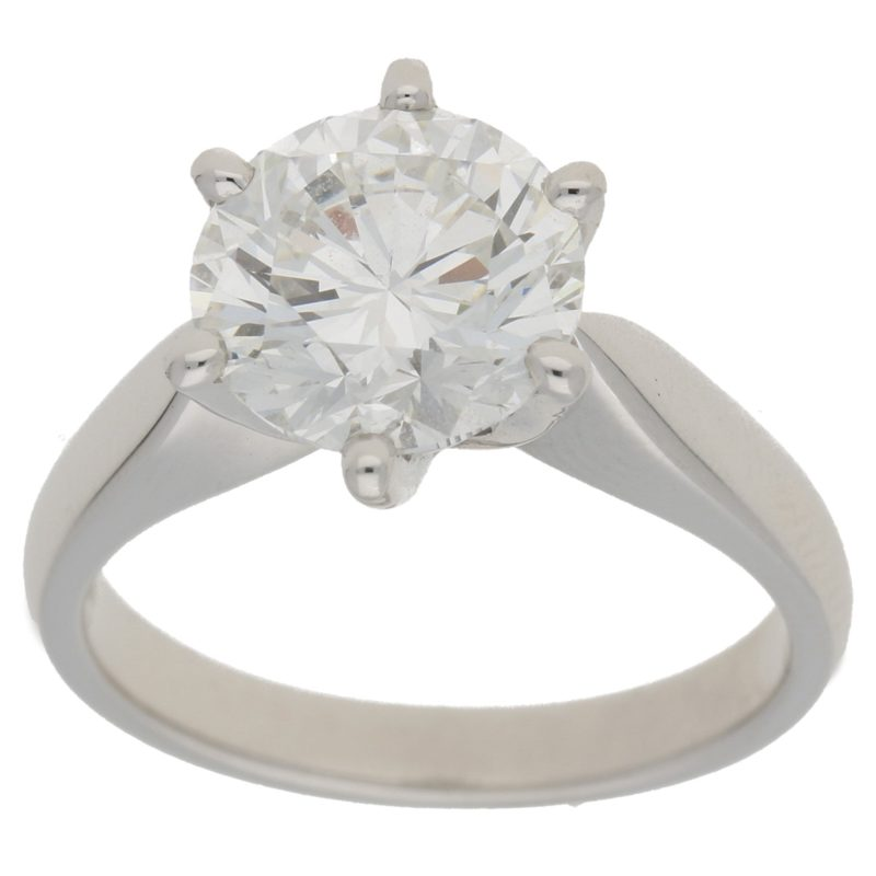 GIA Certified 3.02ct Round Brilliant Cut Diamond Ring