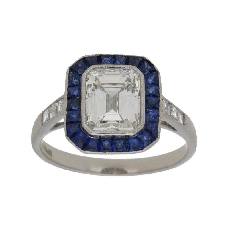 Emerald-Cut Diamond and Sapphire Target Engagement Ring Platinum