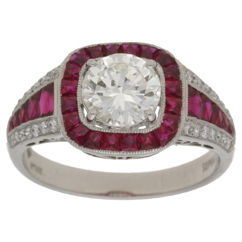 Art Deco style ruby and diamond ring