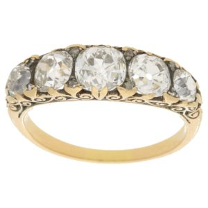 Victorian five-stone diamond ring in yellow gold