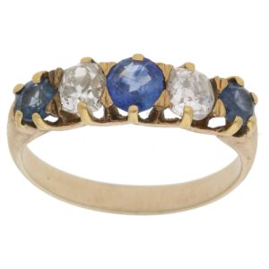 Victorian sapphire and diamond ring, circa 1890