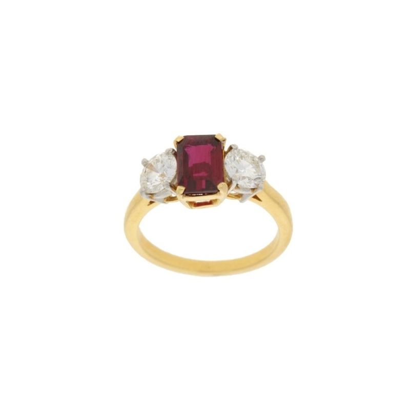 18ct gold ruby diamond three stone engagement ring