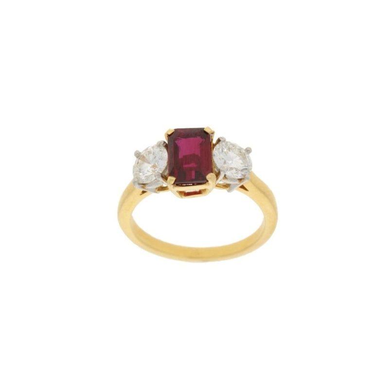 18ct gold ruby diamond three stone engagement ring