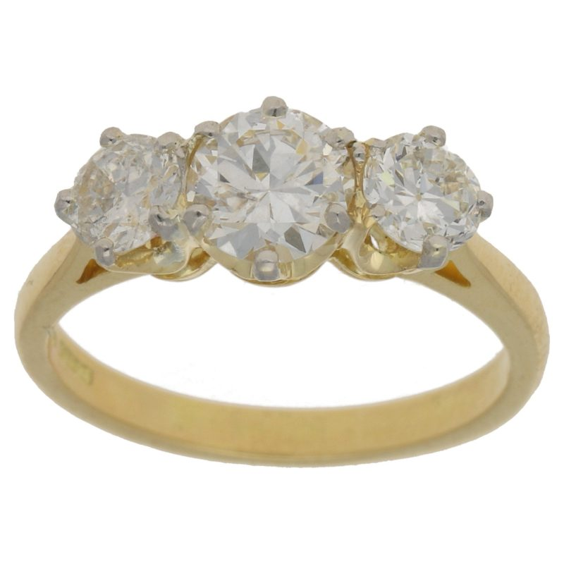 18k gold diamond three stone ring
