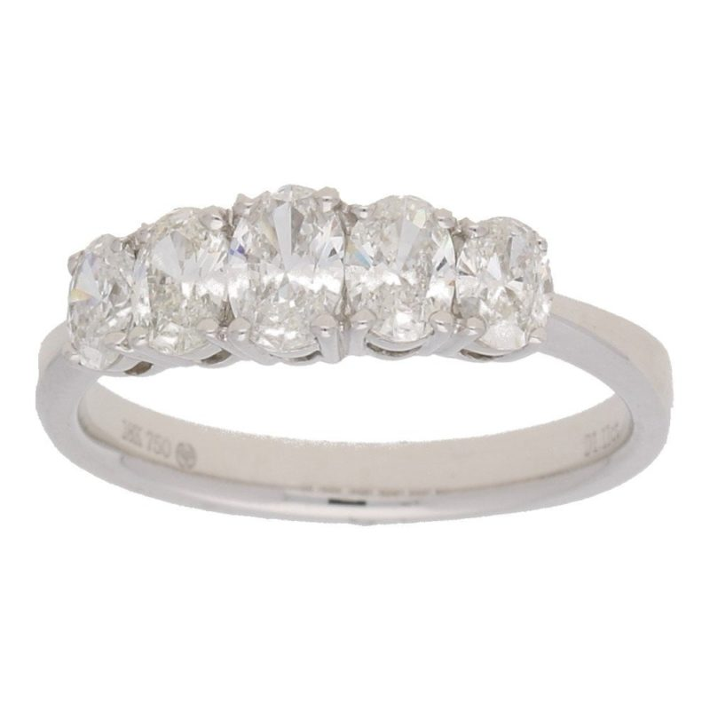 18ct white gold five stone oval cut diamond ring