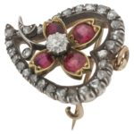 Victorian diamond ruby floral witches heart pendant brooch