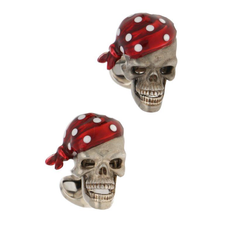 Sterling silver and enamel pirate skull swivel back cufflinks