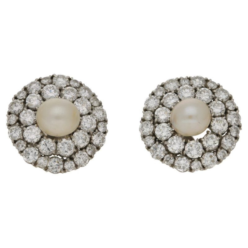 Cultured pearl and diamond double-row cluster earrings