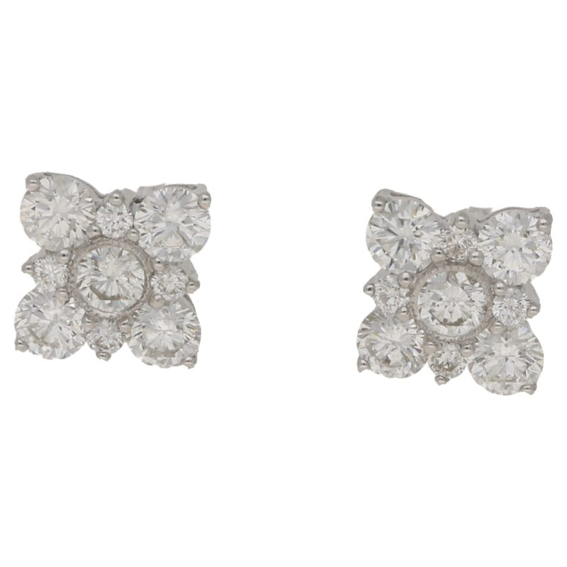 18ct gold diamond floral earrings