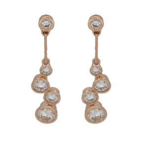 18ct rose gold diamond bubble drop earrings
