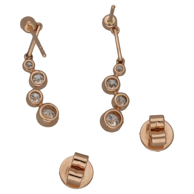 18ct rose gold diamond bubble drop earrings