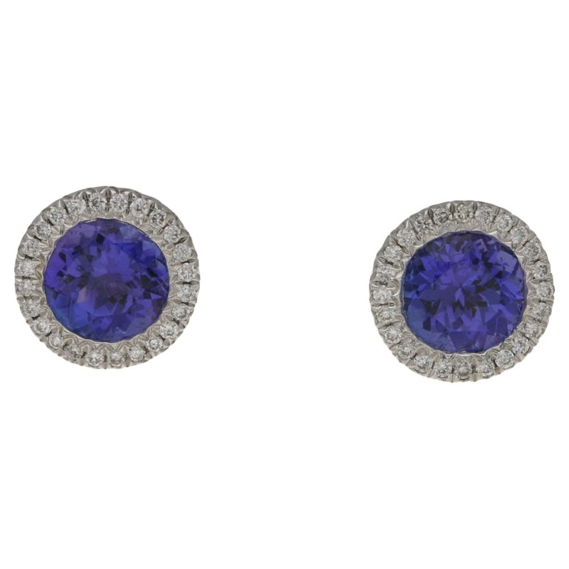 18ct gold tanzanite diamond cluster stud earrings