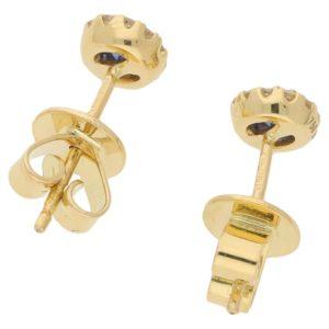18ct gold sapphire diamond round cluster studs