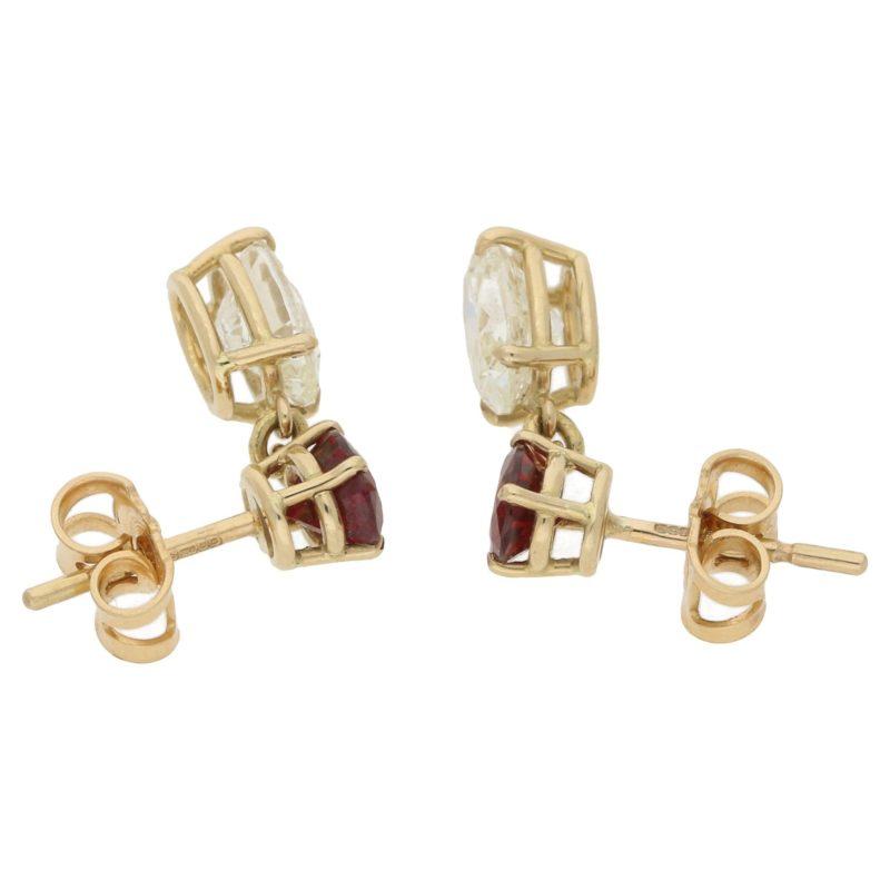 18ct gold oval diamond ruby drop earrings