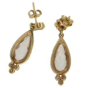 Green quartz and diamond drop earrings in gold
