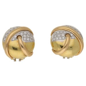 1960's 18ct gold diamond set earrings