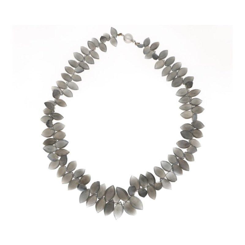 An opalescent briolette cut smoky quartz necklace