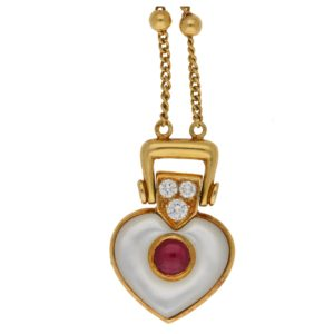 Mauboussin diamond ruby mother-of-pearl heart necklace