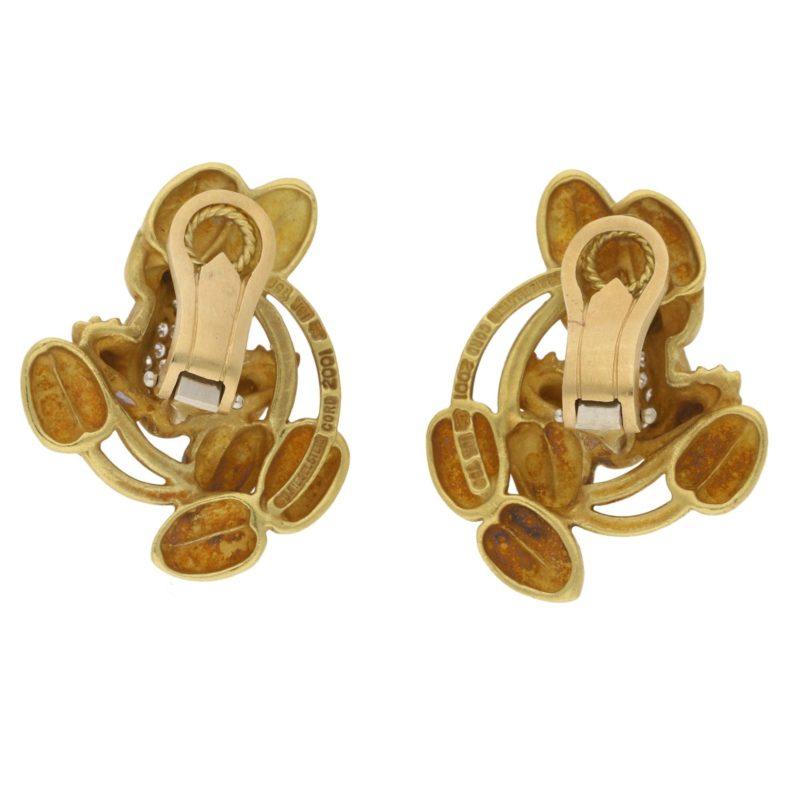 Kieselstein Cord diamond set frog ear clips