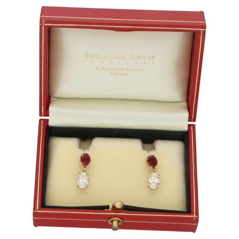 18ct gold oval diamond ruby drop earrings