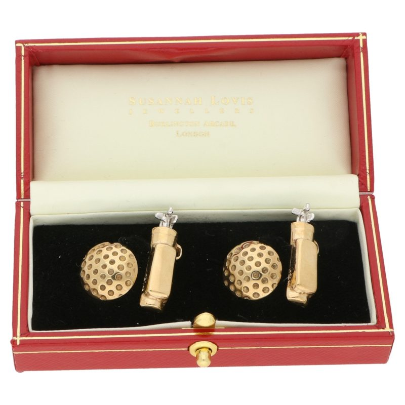 9ct gold golf cufflinks