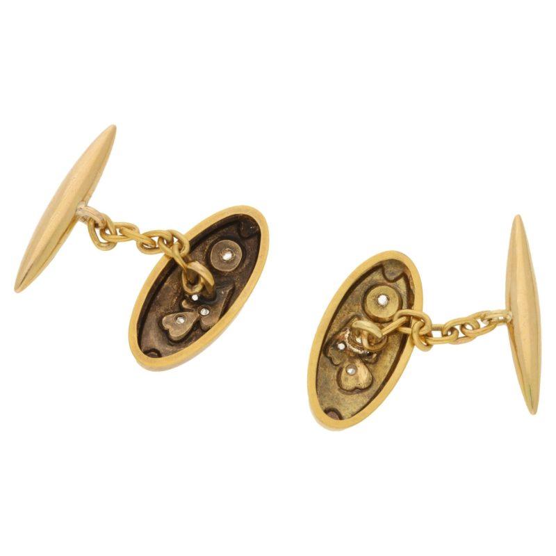 Victorian gold engraved diamond set cufflinks