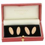 Antique 9ct rose gold leaf pattern cufflinks