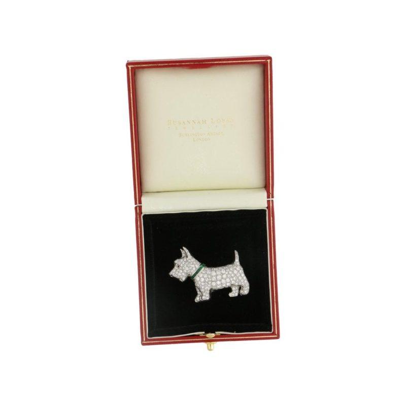 Vintage Diamond and Emerald Scotty Dog Brooch