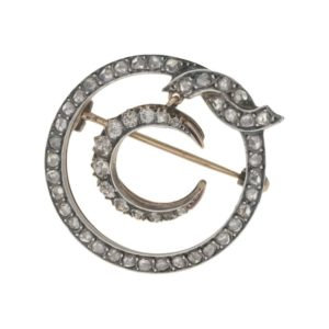 Victorian diamond crescent moon brooch